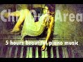 5 hours of beautiful relaxing piano music with soothing warm summer rain - perfect study music!!!