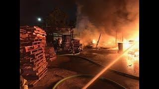 Firefighters Battle Pallet Fire