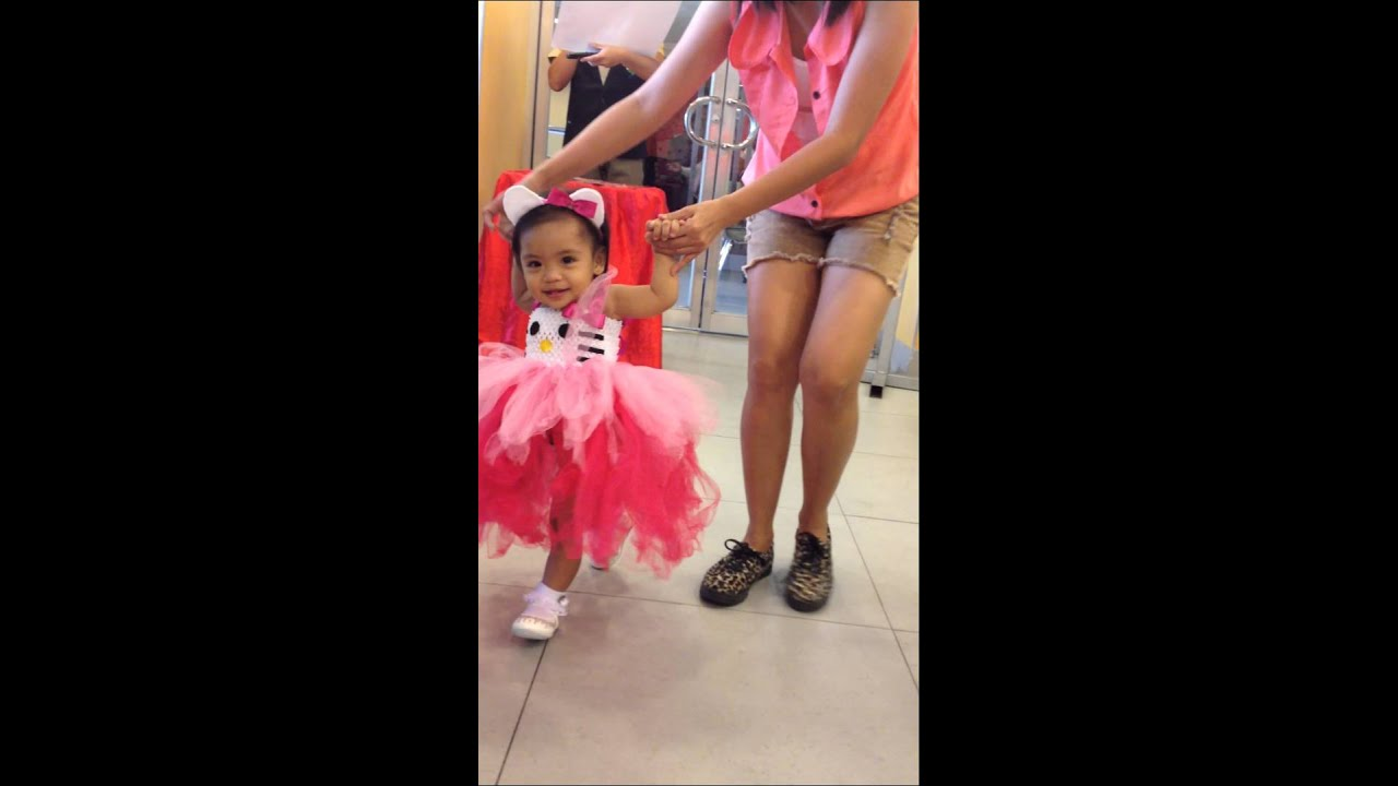 Hello kitty party dress with kaslyn claire @ 1 yr old