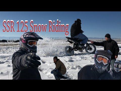 SSR 125 SNOW RIDING PIT BIKE DRIFTING AND FALLS