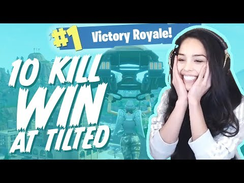 Surviving Tilted Towers! (10 Kill Solo Win) Valkyrae Fortnite