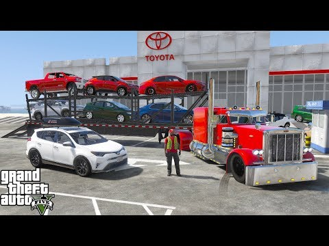 GTA 5 Real Life Mod #189 Transporting Vehicles To My Toyota Dealership With A Car Carrier Trailer