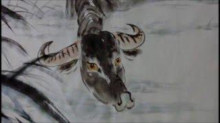 20160416陳永浩CHEN YUNG HAO老師授課Ink and color PAINTING  畫水牛Painted water buffalo
