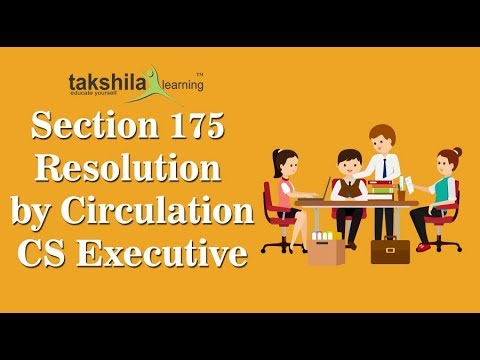 CS Executive Company Law Video Classes - Section 175 Resolution by Circulation