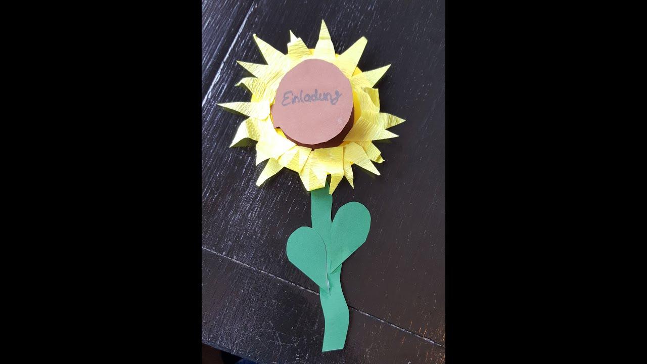 Sonnenblume Einladung Basteln   Basteln Mit Der Bastelfee   YouTube