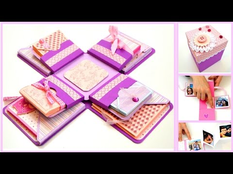 DIY Crafts - Explosion box for boyfriend - Exploding box card - Birthday Scrapbook Album