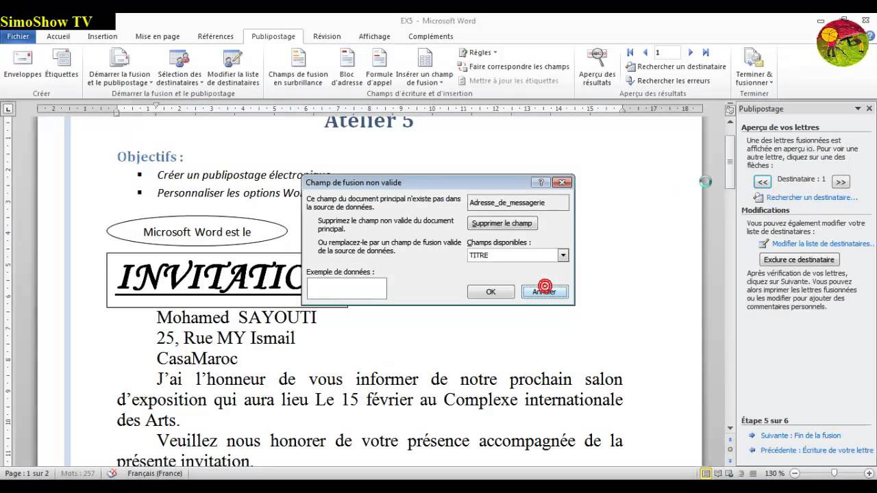 Formation word 2010 cr er un publipostage lectronique - Comment faire un publipostage sur open office ...