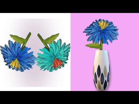 How to Make a beautifull origami paper flower with strick | diy paper flowers