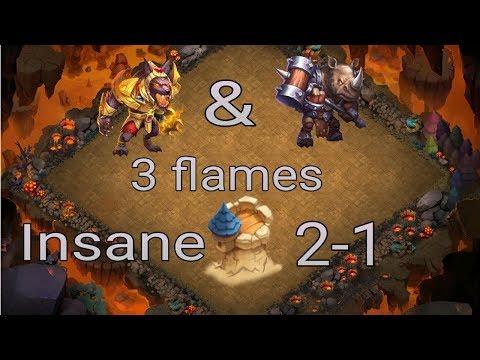 Anubis & Rockno 3 Flames Insane Dungeon 2-1 L Castle Clash