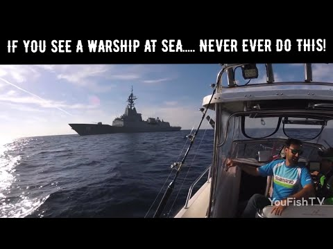 Warship Destroyer Intercepts Fishing Boat  HMAS Hobart