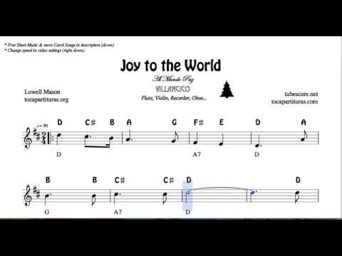 Joy to the World Notes Sheet Music for Flute Violin Oboe Voice    Easy Christmas Song Villancico