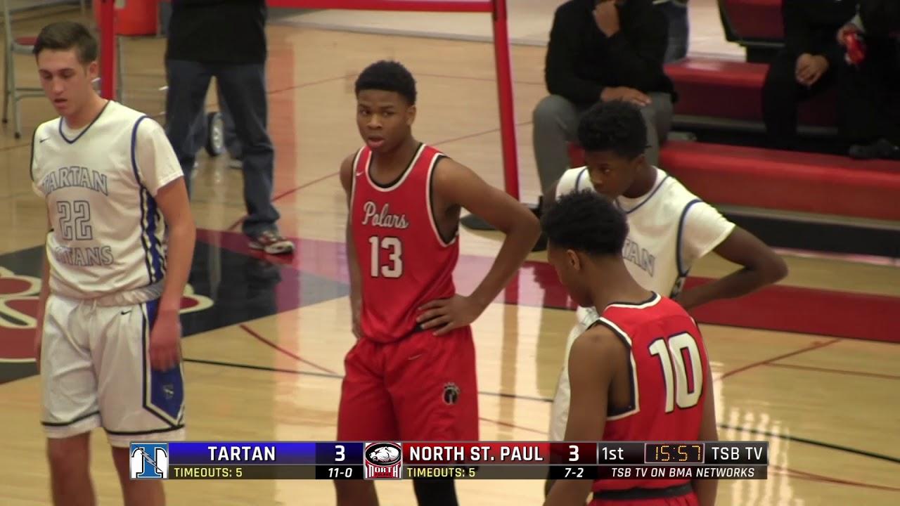 high school boys basketball tartan vs north st paul
