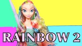 AllToyCollector FROZEN Elsa RAINBOW HAIR Down Makeover Tutorial Disney Princess Barbie Parody