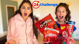 We only ate RED food for 24 HOURS Challenge!! Clara pranks Elena