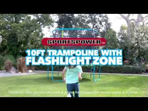 10 Ft Trampoline With Flashlight Zone By Sportspower Youtube