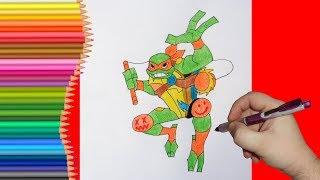 How to draw Michelangelo, TMNT 2018, Как нарисовать Черепашку Ниндзя