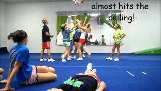 Epic Cheerleading Stunting Fail. (Basket Toss Gone Way Wrong!) Tall flyer!