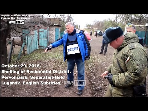 [Eng Subs] 10/29 Bombardment of Residential Lugansk Village, OSCE records craters.