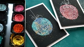 Holiday Card Series 2018 - Day 20 - Pearlescent Watercolor Ornaments