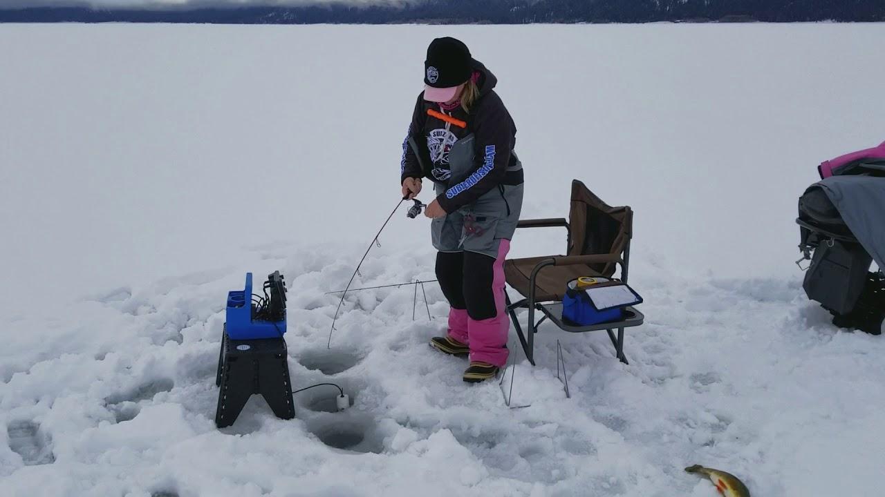 Ice fishing trout on lake cascade idaho youtube for Cascade lake idaho fishing