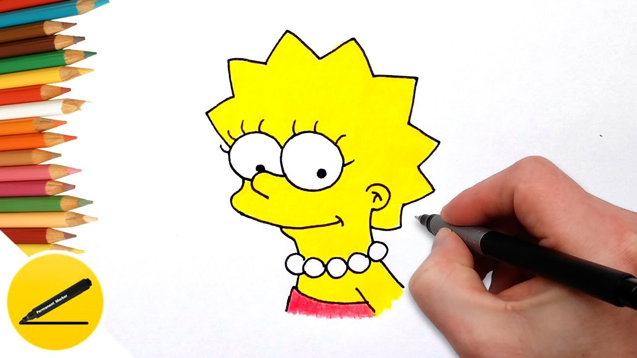 Learning How to Draw Lisa Simpson Easy and Coloring Pages for Kids ...