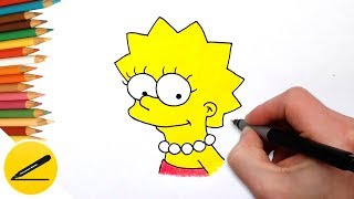 Learning How to Draw Lisa Simpson Easy and Coloring Pages for Kids
