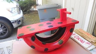 upcycled tire rocking horse