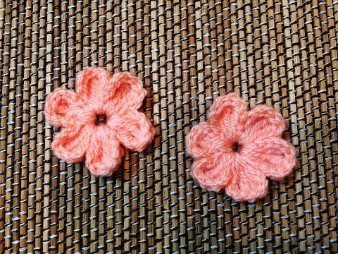 Easy Crochet Flower - ถักดอกไม้โครเชต์ 6 กลีบแบบง่าย