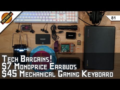Tech Bargains! Memory, Drives, Cables, $45 1STPLAYER Mechanical Gaming Keyboard, 6 Earbuds Under $20