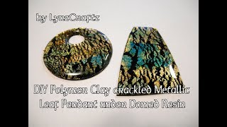 DIY Polymer Clay Metallic Leaf Crackle Under Domed Resin tutorial