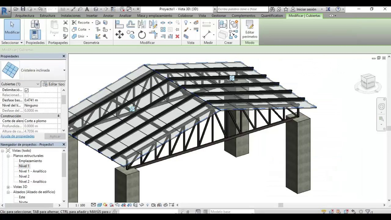 Crear Cubierta Con Estructura Metalica En Revit 2017