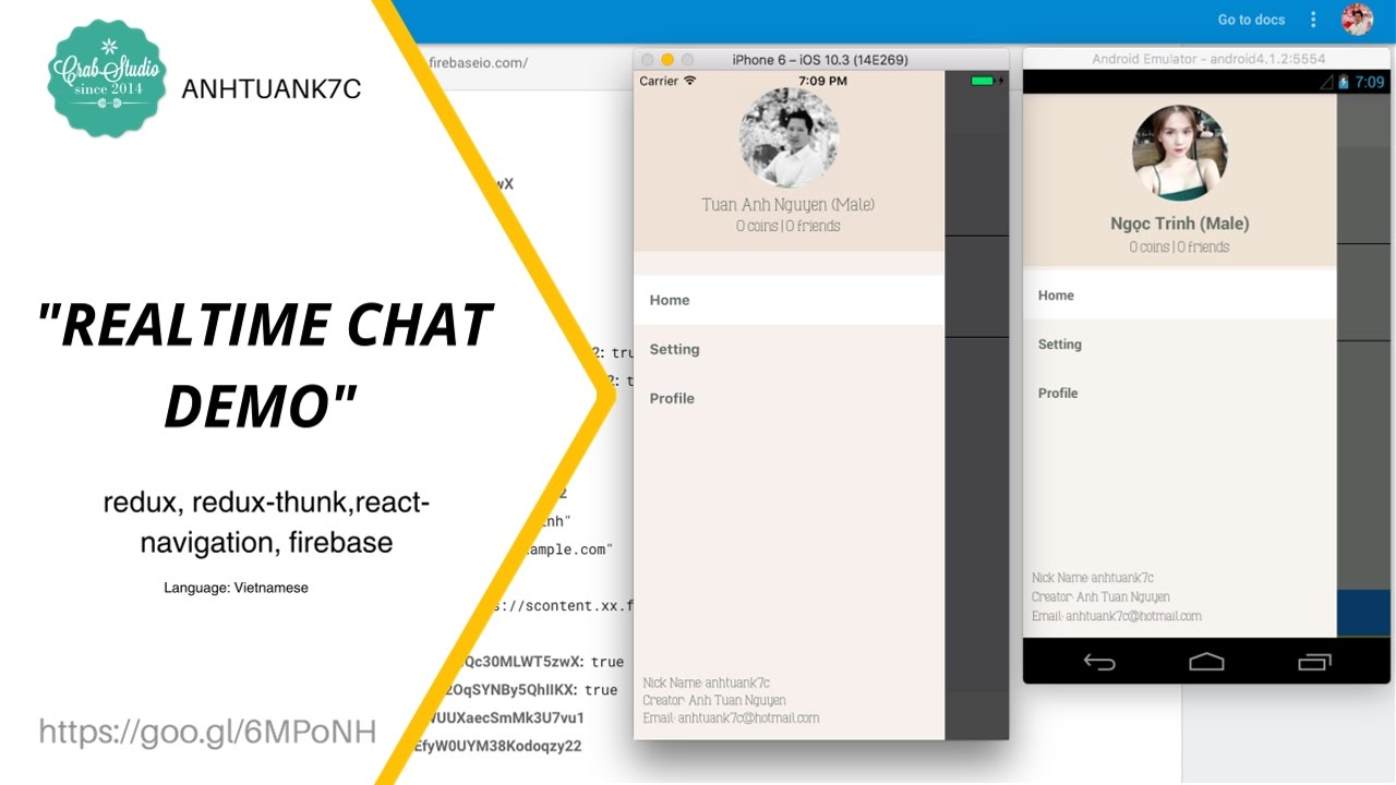 React Native -Realtime chat with firebase [DEMO 2]