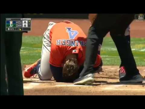 Athletics P Jesse Hahn hits Astros OF George Springer with pitch and injures his hand.