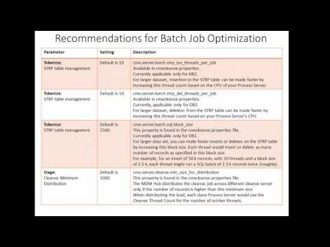79. Informatica MDM 10 - Recommendation for Batch Jobs