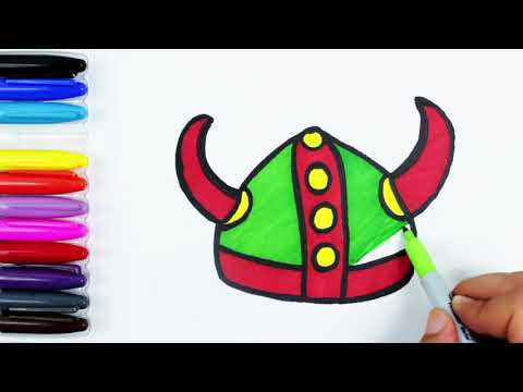 how-to-draw-a-viking-helmet-learn-colors-english-for-kids-easy-draw-glitter-coloring-pages