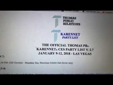 CES 2018 Las Vegas Thomas PR Party List Update To Include C Space Party At Aria #CES2018