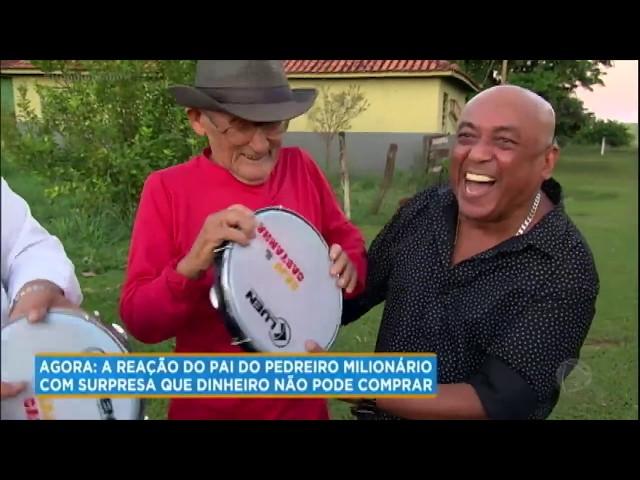 Pai de Valmir se emociona ao encontrar Caju e Castanha