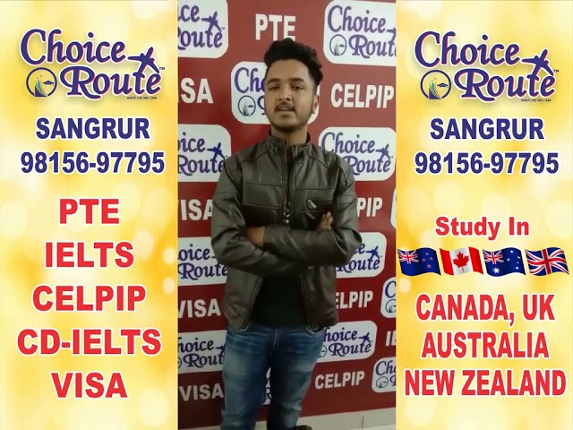 Congratulations SANDEEP SINGH - Choice Route is the Best PTE and IELTS institute in Sangrur City.