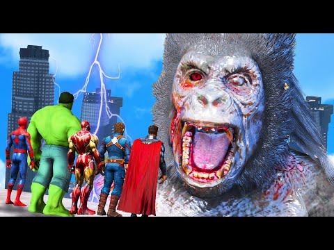 GTA 5 - The Avengers VS Giant Zombie Kong