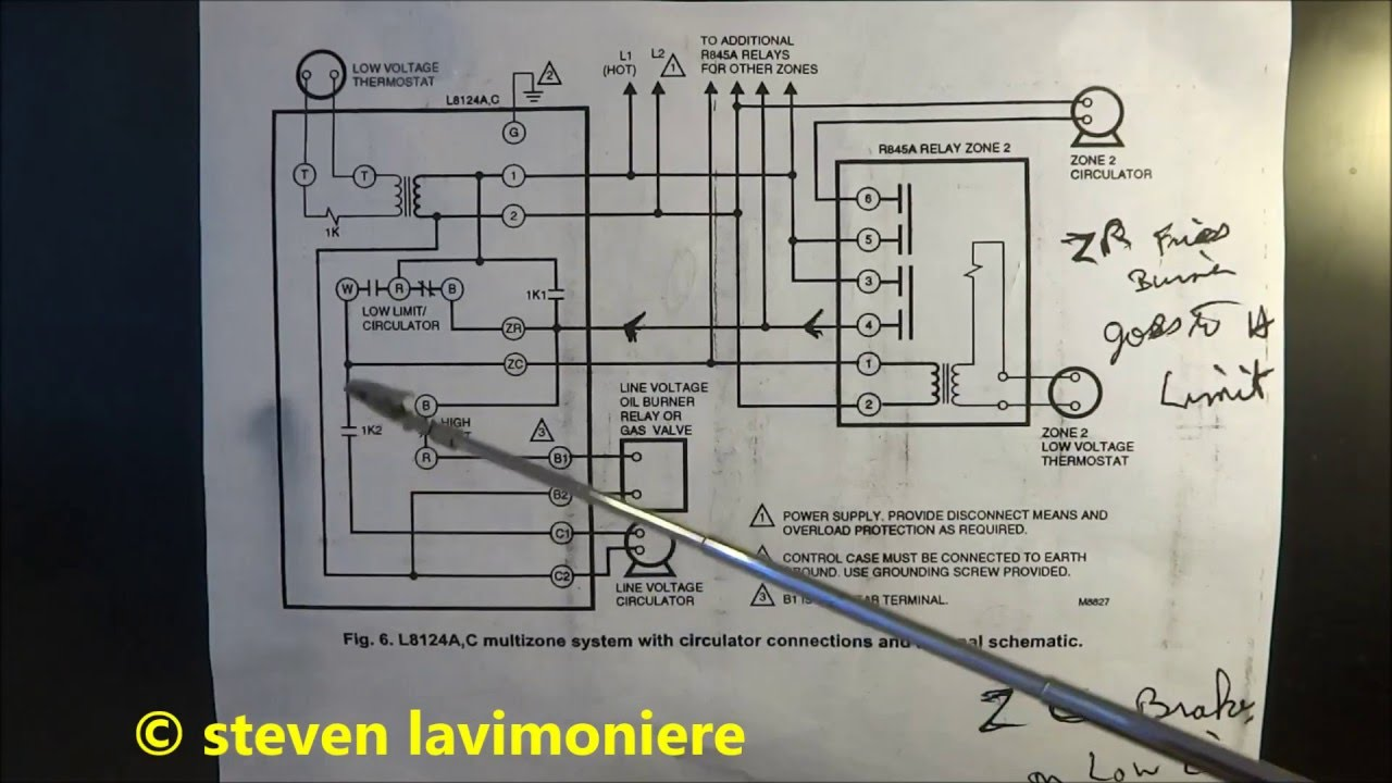 honeywell dual aquastat wiring diagram zone valve boiler aquastat operating control wiring explained - youtube