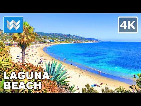 Laguna Beach, California USA 2020 - Virtual Beach Walk - Relaxing Ocean Waves Sound 🌊🎧【4K】