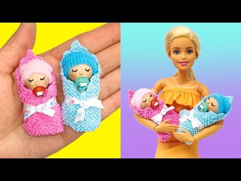 DIY Miniature Baby for Barbie. Play Doh Barbie Baby
