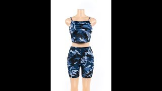 Camouflage Tube Top Sport Style Two Piece Set Jumpsuit Wholesale
