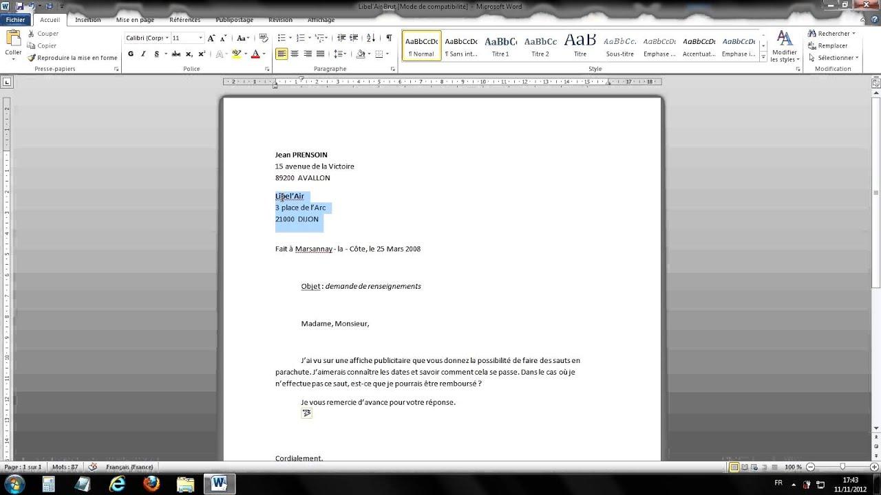 lettre word mise en page Tuto Mettre en forme une lettre (Word 2010)   YouTube lettre word mise en page