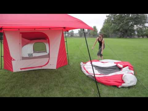 & Ozark Trail 8 Person Dome ConnecTent with Canopy - YouTube