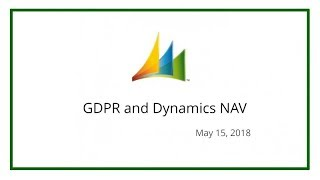 GDPR and Dynamics NAV (May 15, 2018)