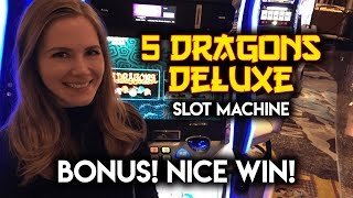 BONUS WIN! 5 Dragons Deluxe Slot Machine!!!
