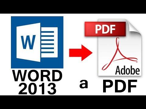 Como Convertir de Word 2013 a PDF en 1 minuto (Fácil y Sencillo)