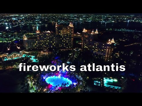 4K DRONE FOOTAGE FIREWORKS ATLANTIS RESORTE NASSAU BAHAMAS  PHANTOM4PRO+ INDEPENDENCE DAY DJI DRONE