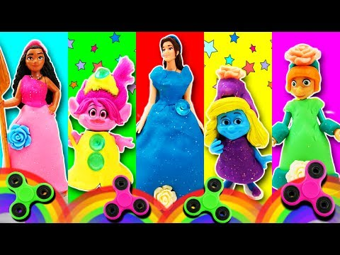 Fidget Spinner Dress Up Fashion Show Game! Belle Poppy Moana Smurfette Lucy Learn Colors & Sing!